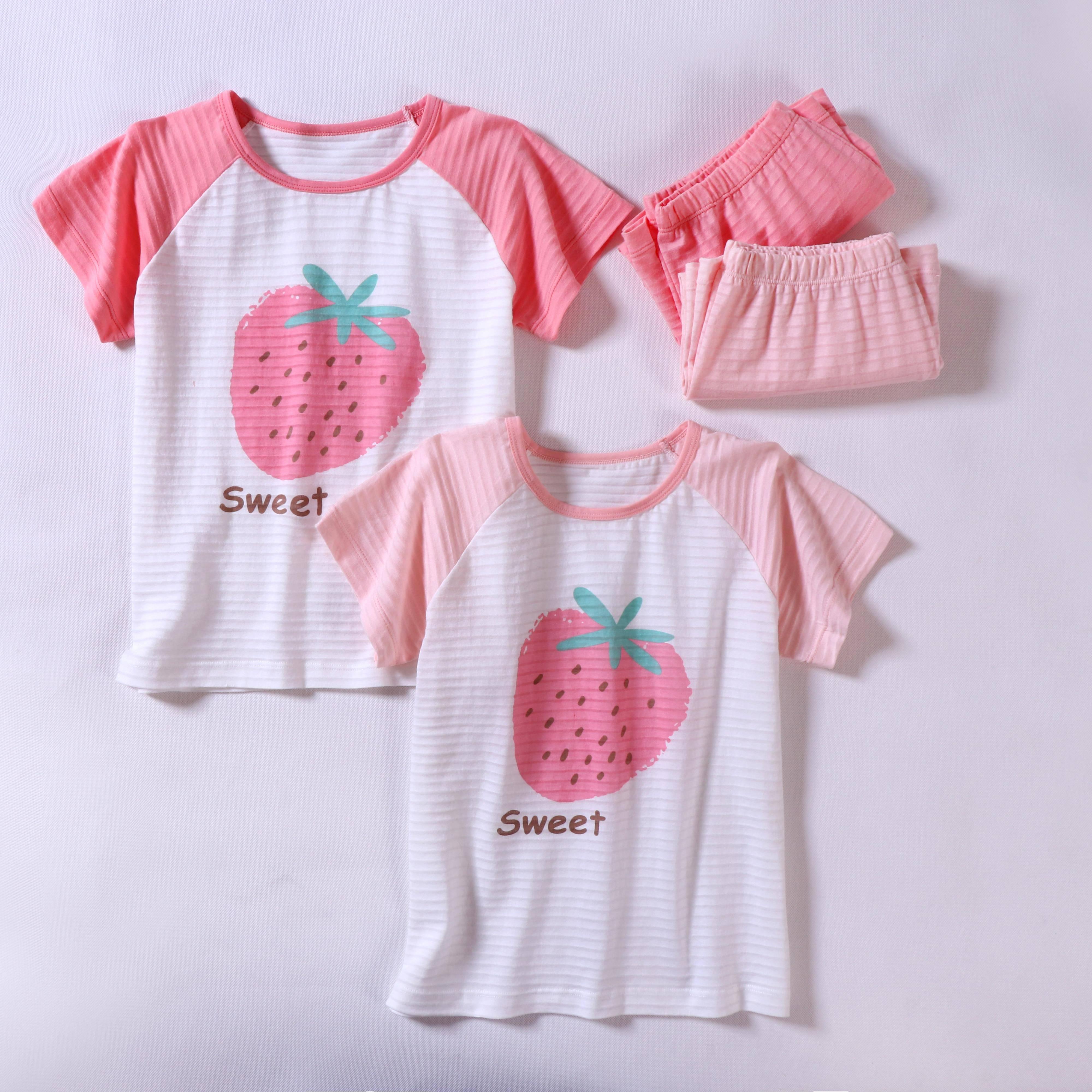 Детские пижамные комплекты, костюм для сна для малышей, футболка с коротким рукавом и рисунком клубники для девочек, милая Пижама для девочек-подростков