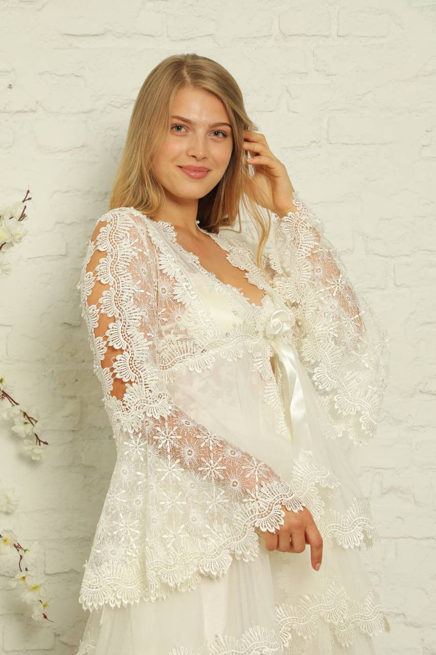 Women's Nightgown Dressing Gown Set White Lace Underwear Soft Comfortable Wear horse Home Bed Wedding Gift Dowry Package Sexy Luxur