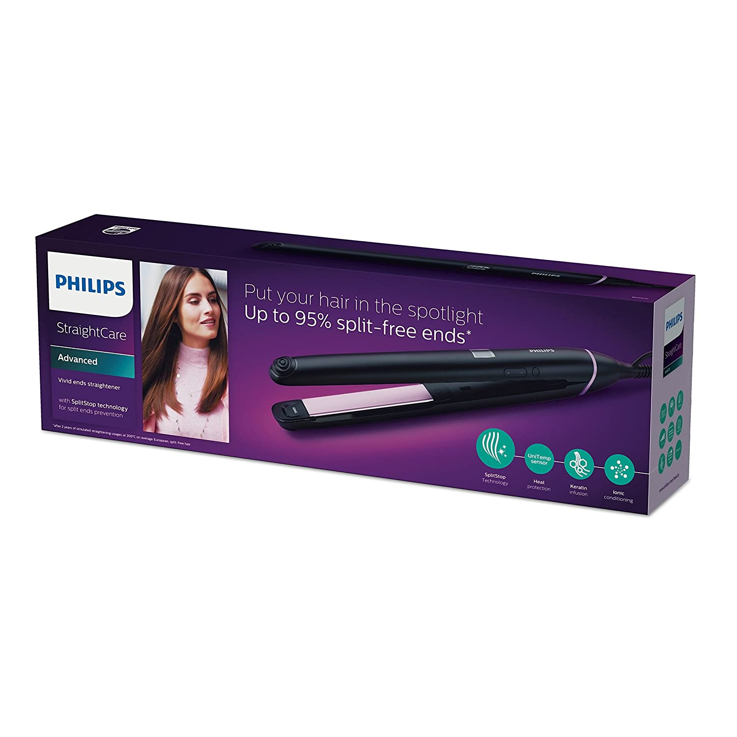 Philips StraightCare Vivid Ends straightener BHS675/00 BHS675 with SplitStop Technology Keratin infusion 110V-220V enlarge
