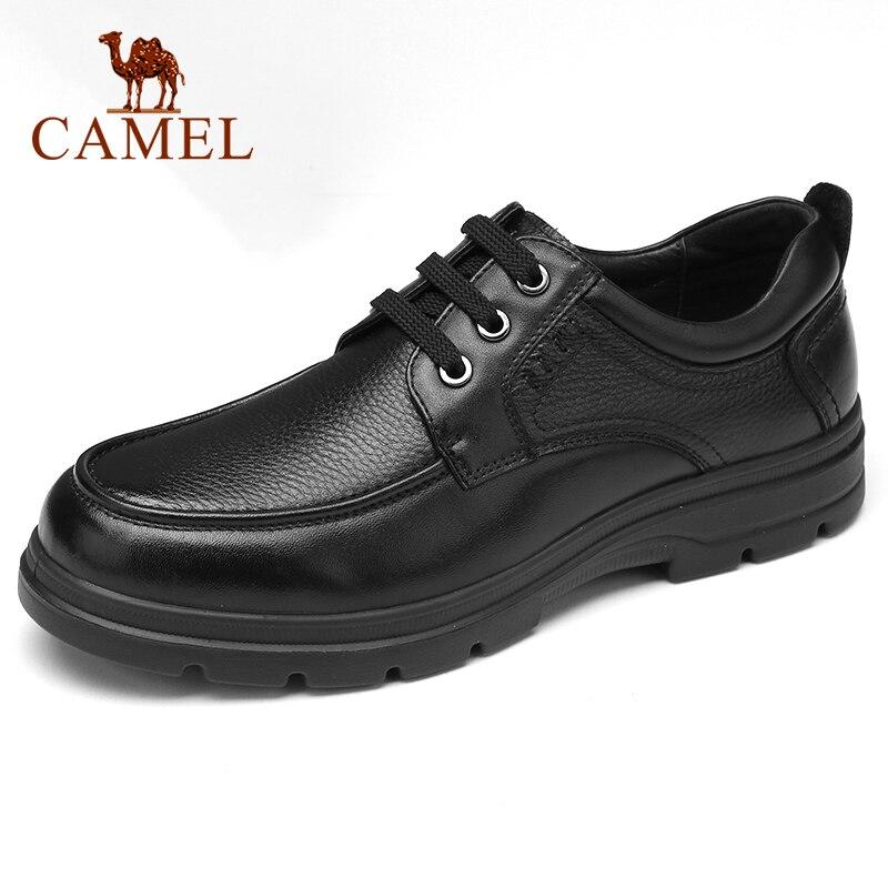 CAMEL-أحذية رجال الأعمال من الجلد الطبيعي ، أحذية مكتبية مريحة وغير قابلة للانزلاق ، مرنة للغاية