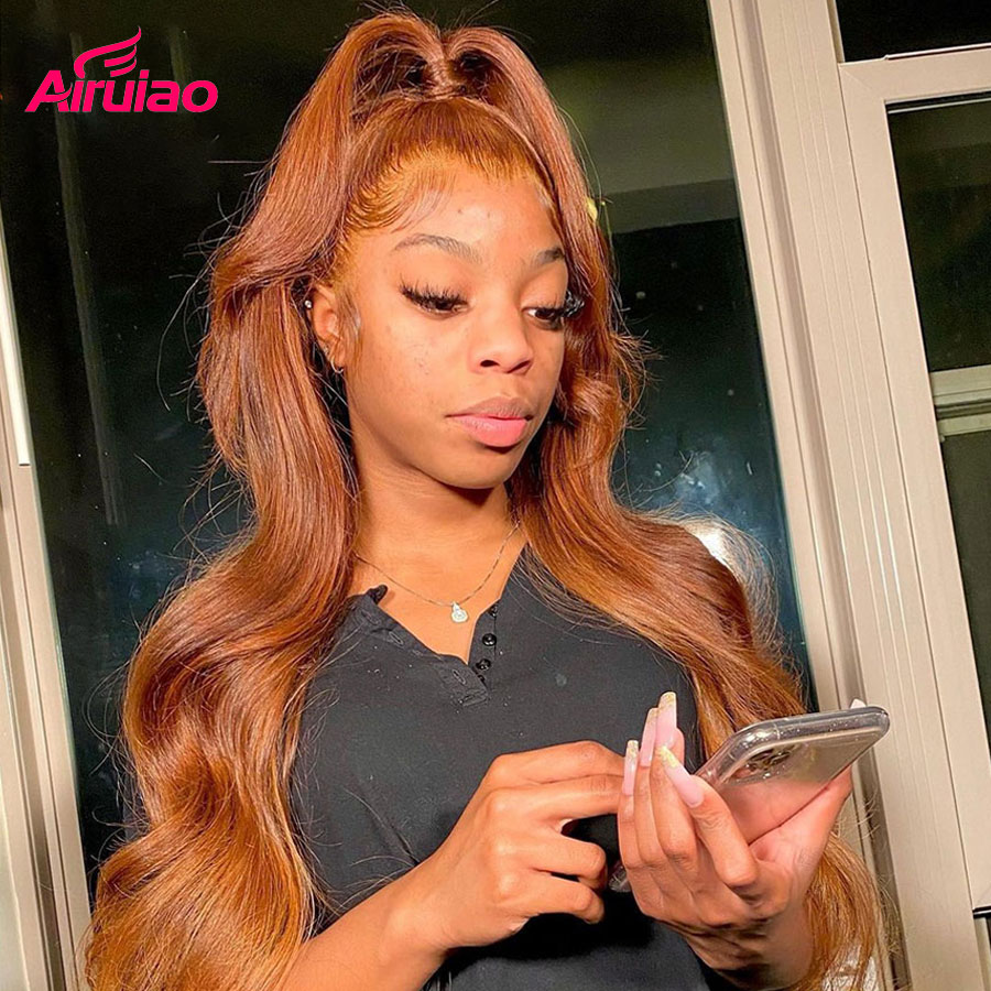 Honey Blonde 13x6 HD Lace Frontal Human Hair Wigs Brown Colored Body Wave Lace Front Wig Water Wave Nature For Full Black Woman