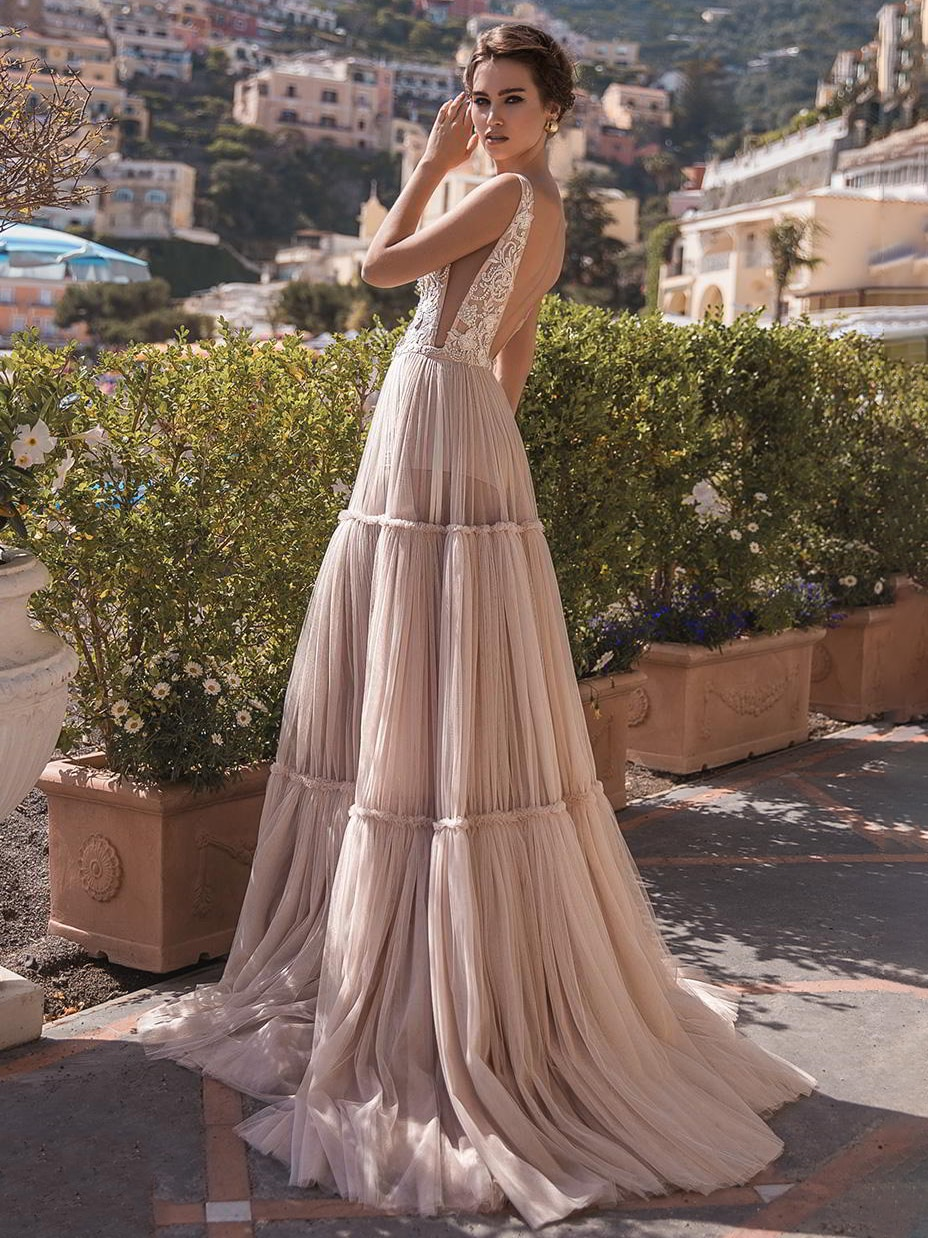 Get 2021 Sleeveless Plunging V Neck Bridal Gown Appliques Eembellished Open Side Hippie Romantic Backless Wedding Dress Champagne