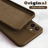 astubia 2021 square liquid silicone phone case on for iphone 11 12 pro max mini xs max x xr 7 8 plus se 2020 cover full coque