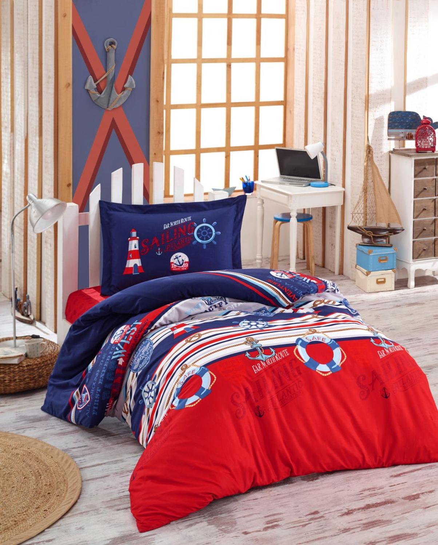طقم أغطية سرير قطني للأطفال ، مفرش سرير فردي مع ملاءة وغطاء لحاف وغطاء وسادة للأطفال