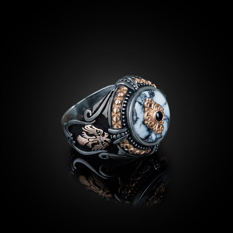خاتم رجالي من الفضة الإسترليني عيار 925 بحجر الفيروز الأبيض وتصميم النسر الحيواني ، صنع في تركيا