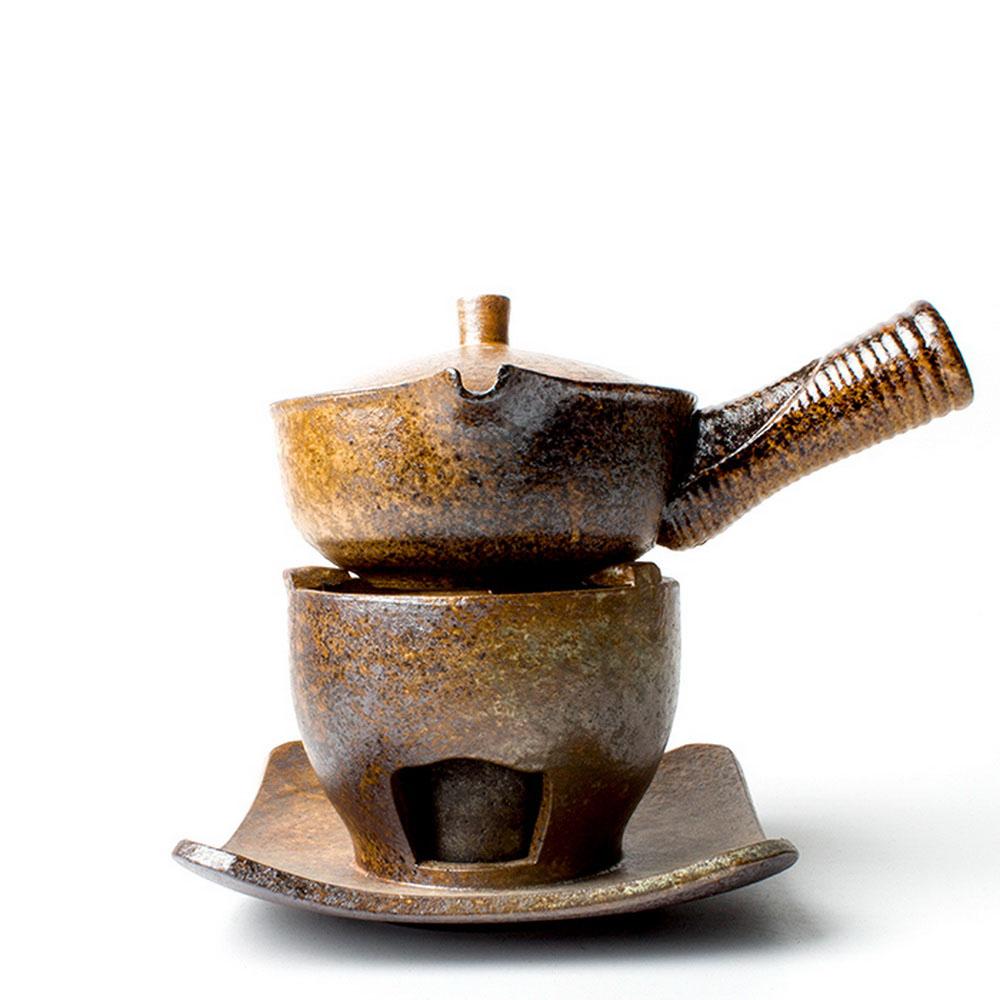 إبريق شاي بمقبض جانبي من السيراميك مع موقد كحول ، طقم شاي Kungfu