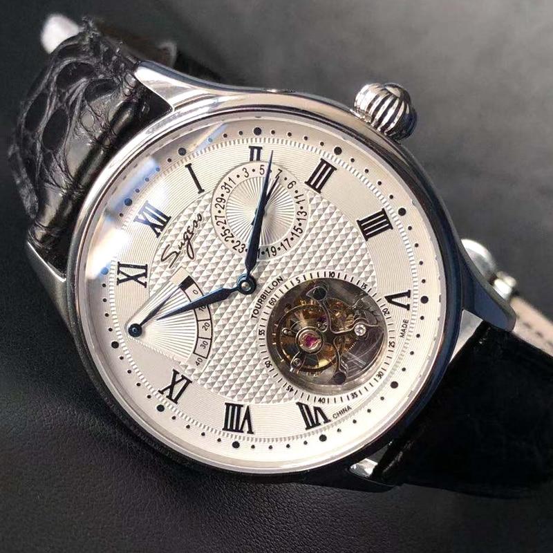 Sugess Real tourbillon watch Genuine seagull ST8001 Movement Mens Watch Calendar Skeleton Gold Diamond watches Hand winding/Auto