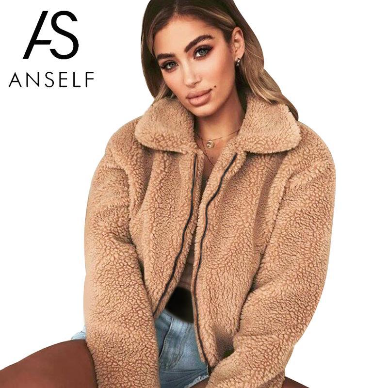 Anself Teddy Bear Coat Women Faux Fur Coat Female 2020 Autumn Elegant Loose Thin Outwear Zipper Overcoat Teddy Jacket female 3XL