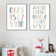 ABC chiffres Alphabet affiche pépinière éducatif mur Art toile impression enfants chambre décoration peinture neutre maternelle photo