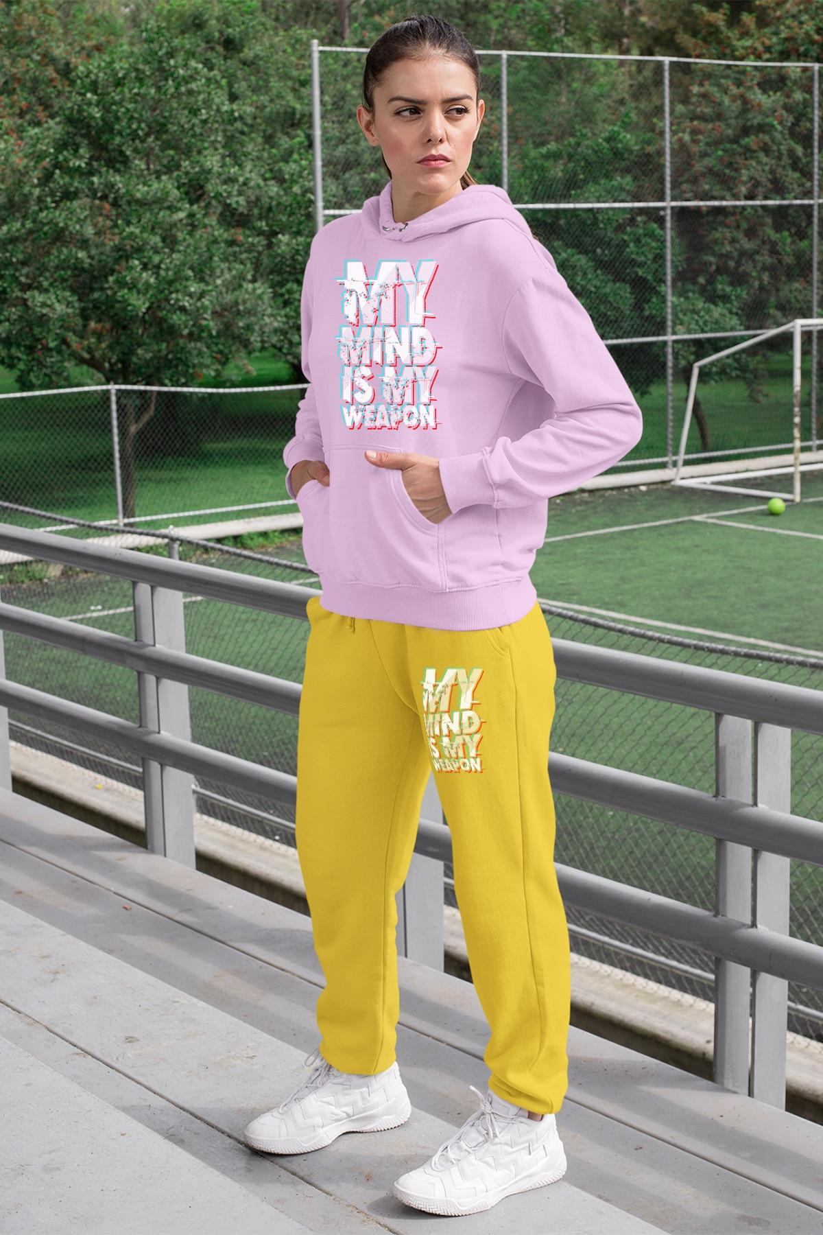 Angemiel usar minha mente é minha arma conjunto de treino feminino rosa com capuz moletom moletom amarelo