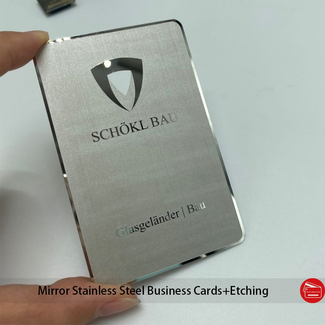 Custom fine cheap silver mirror and texture metal card for business