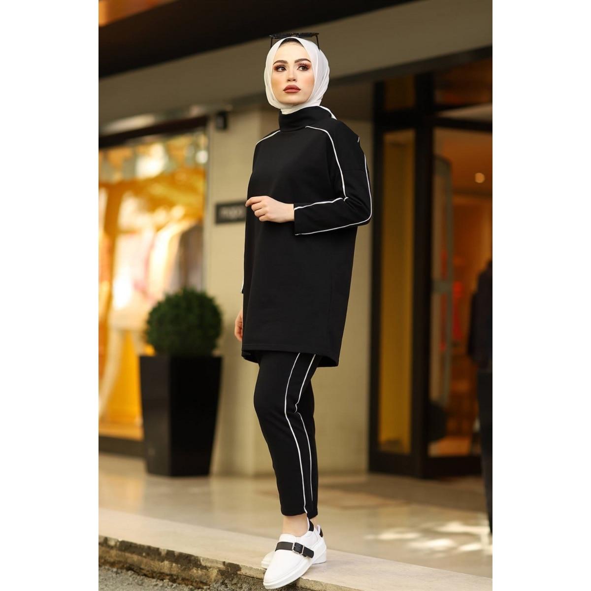 2 قطعة المرأة لينة الرياضة مجموعة شريط منقوشة طويلة الأكمام سترة و بانت مريحة رياضية مجموعة جودة تركيا 2021