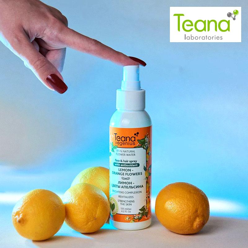 Teana Vegenius-tonificador Facial con esencia Natural, tonificador Facial de agua, limón, flores, naranja, conjunto de maquillaje, espray antienvejecimiento, blanqueador, refrescante, complexción, hidratante, cuidado de la piel, tonificador Facial, 125 ml