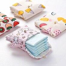 Cute Cartoon podpaski na pieluchy torby do przechowywania podpaski higieniczne z bawełny pakiet portmonetka biżuteria organizator karty kredytowej etui