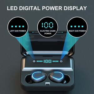 F9-5 series Mini Wireless Bluetooth-compatible Headphone TWS Sport Voice Message LED Power Digital Display with Charging Box