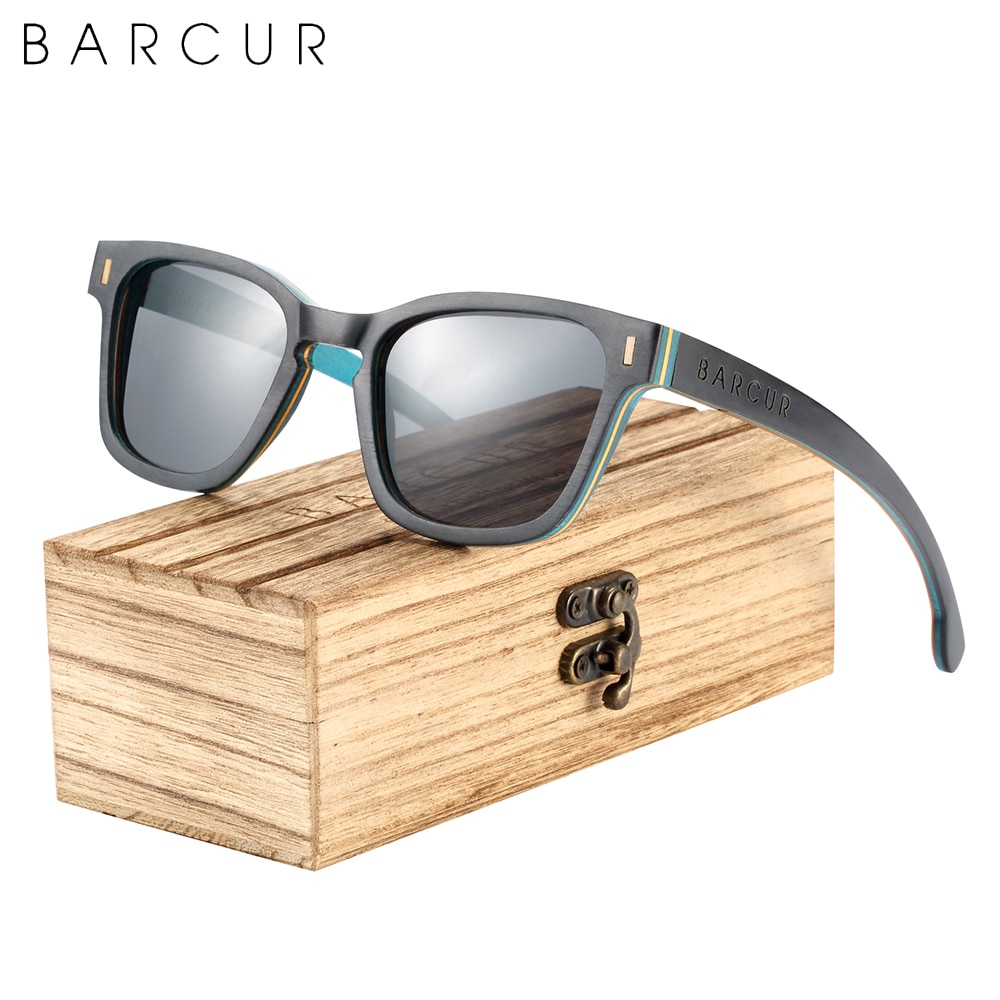 BARCUR ماركة تصميم الخشب النساء النظارات الشمسية موضة الاستقطاب الرجال نظارات شمسية إطار خشبي UV400