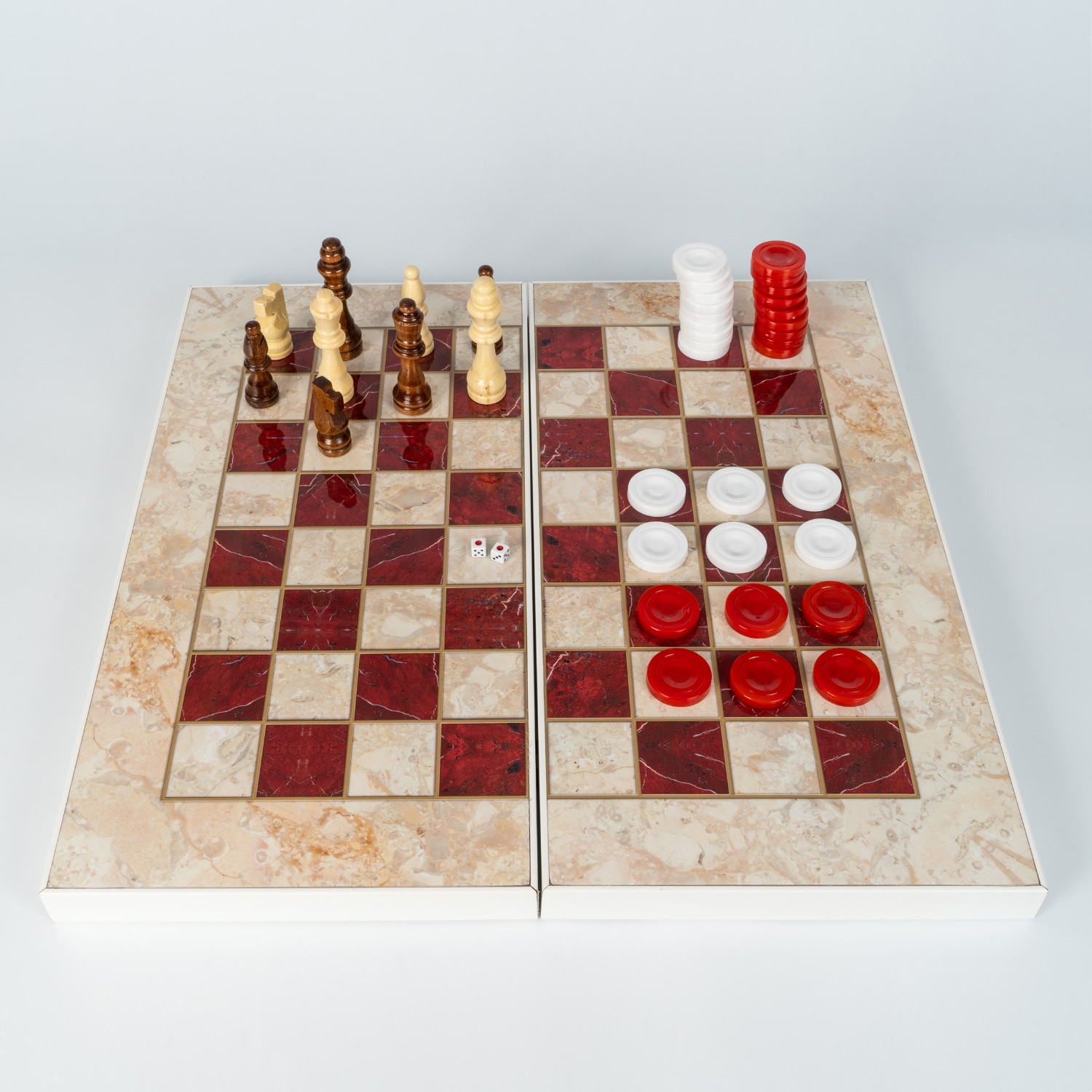 Classic Backgammon Chess Checkers Board Game Tavla 3 in 1 Wooden Red & White Design Big Size Perfect Gift Full Pieces Inc.