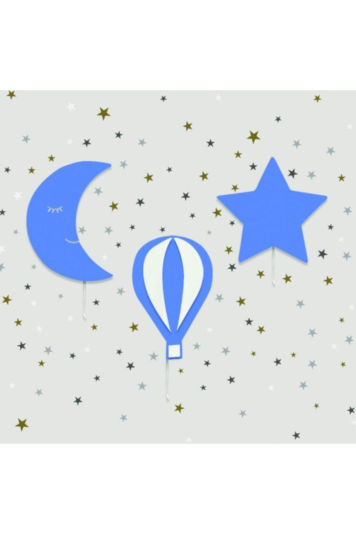 Set of 3- Star Balloon Moon Lamp Set Baby Bedside Night Light Nursery Wall Decor Montessori Furniture Colored Wall Light