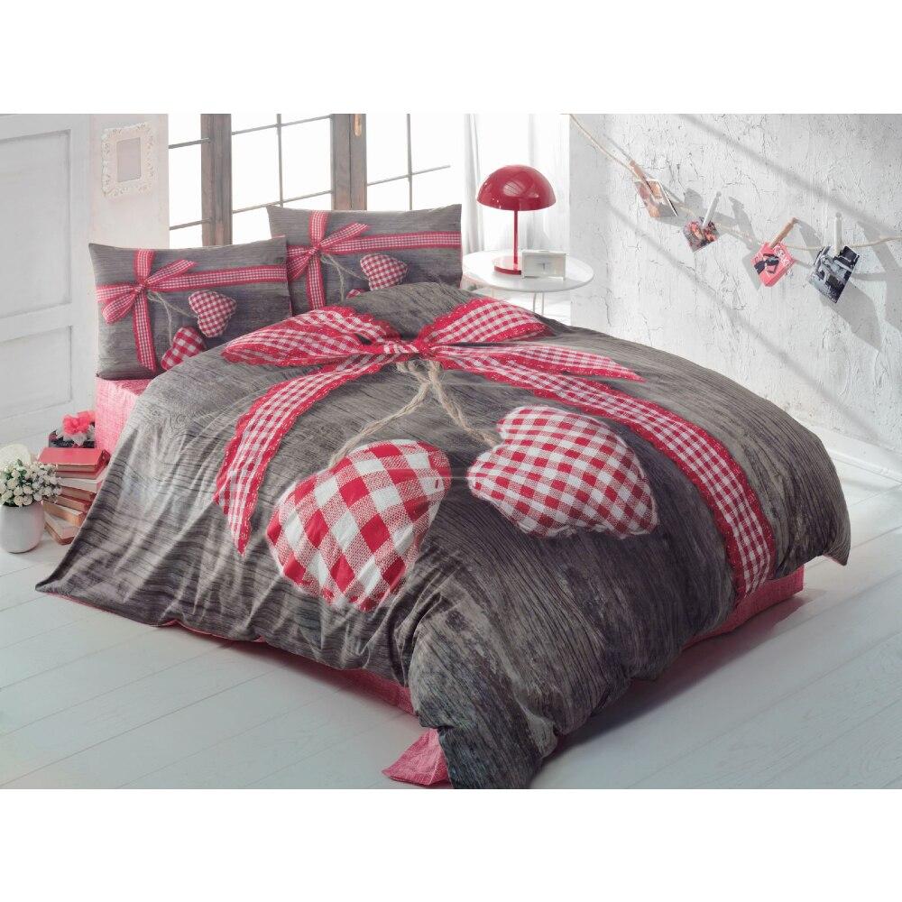 القطن صندوق تركيا مزدوجة حاف الغطاء غطاء سرير المخدة لحاف سرير الحجم المزدوج الفراش 100% القطن نوم 4 قطعة الحب