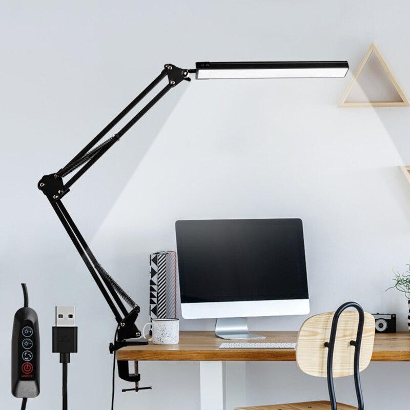 LED لمبة مكتب مع المشبك ، العين الرعاية عكس الضوء القراءة الخفيفة ، 3 وسائط اللون سوينغ الذراع مصباح ، USB كليب على الجدول مصباح ، مصباح النهار
