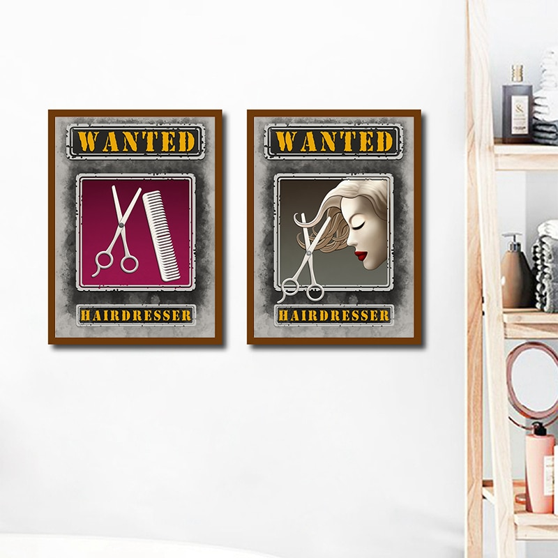 Hair Salon Decorative Canvas Painting Wanted Hairdresser Quote Poster Barber Shop Wall Art Pictures Prints Hairstylist Gifts