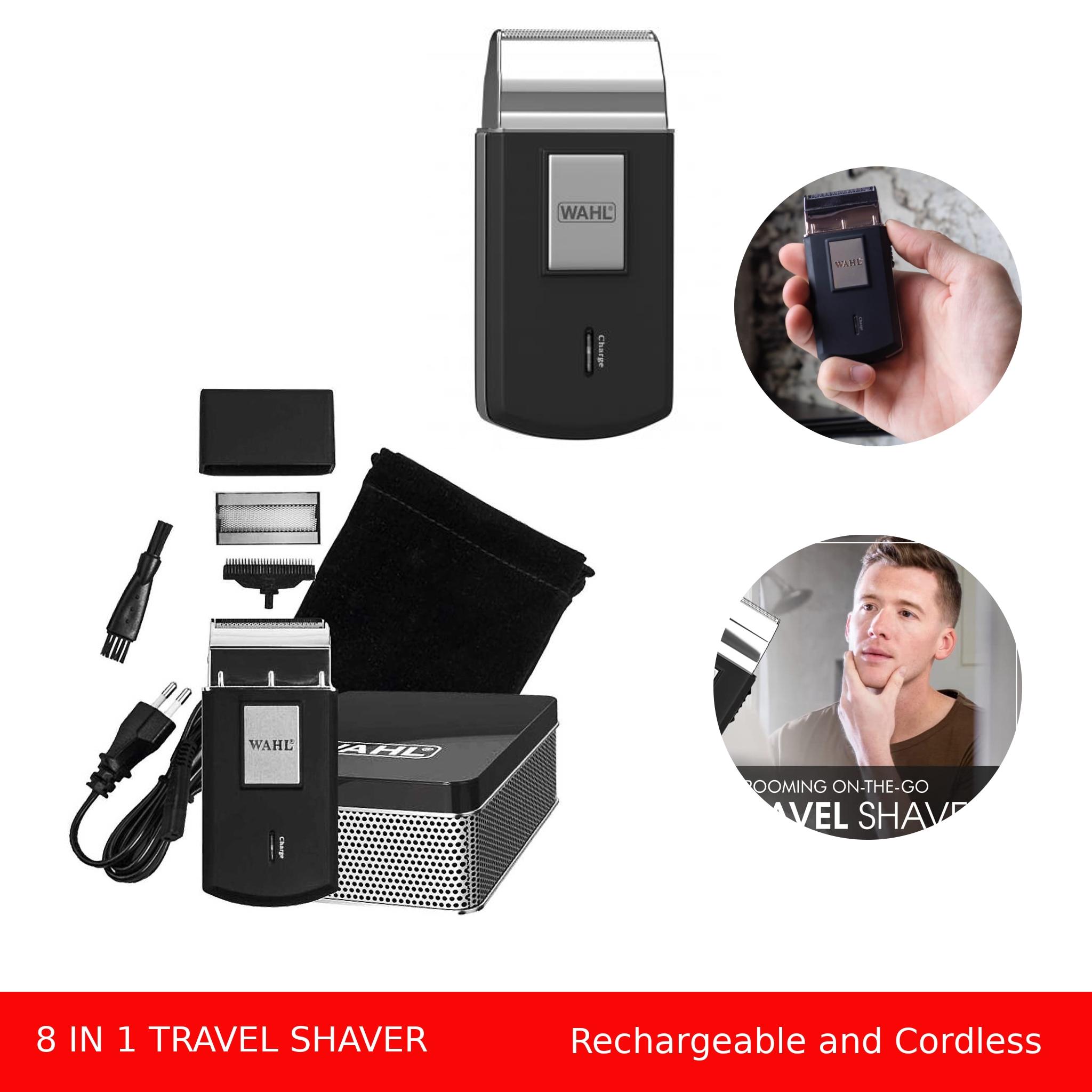 wahl 3615 viagem barbeador eletrico sem fio e recarregavel mini aparador de barba