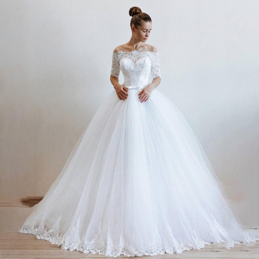 Белое Тюлевое бальное платье с открытыми плечами и рукавами до локтя, свадебное платье, иллюзия, платье на спине для невесты, vestido de novia princesa