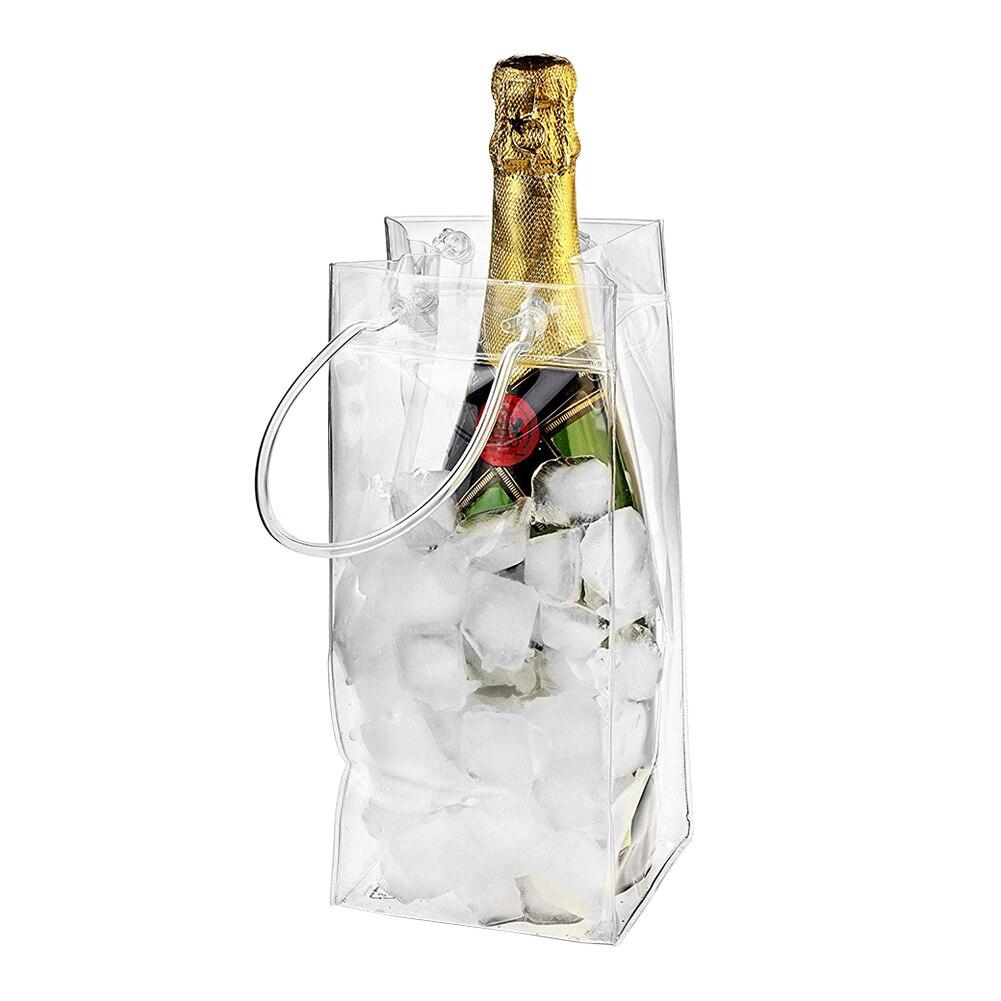 Waterproof Portable Beverage Bag Transparent Wine Bag Leak-proof Plastic Carrying Beer Ice Bag 25x11cm for Outdoor Picnic