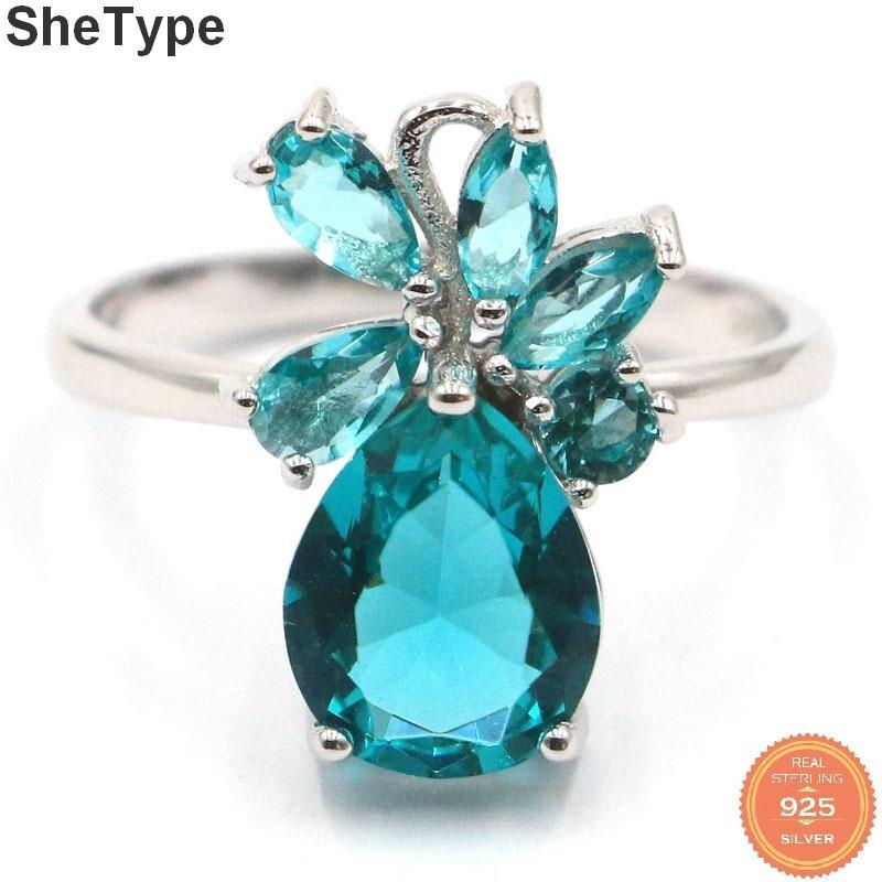 SheType 17x12mm 3,1g creado rico regalo de Aguamarina azul para las señoras anillos de plata esterlina sólida 925 Real