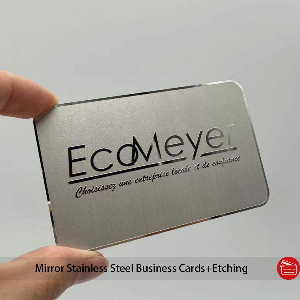 0.3mm thickness Custom mirror polished stainless steel etch metal card for business