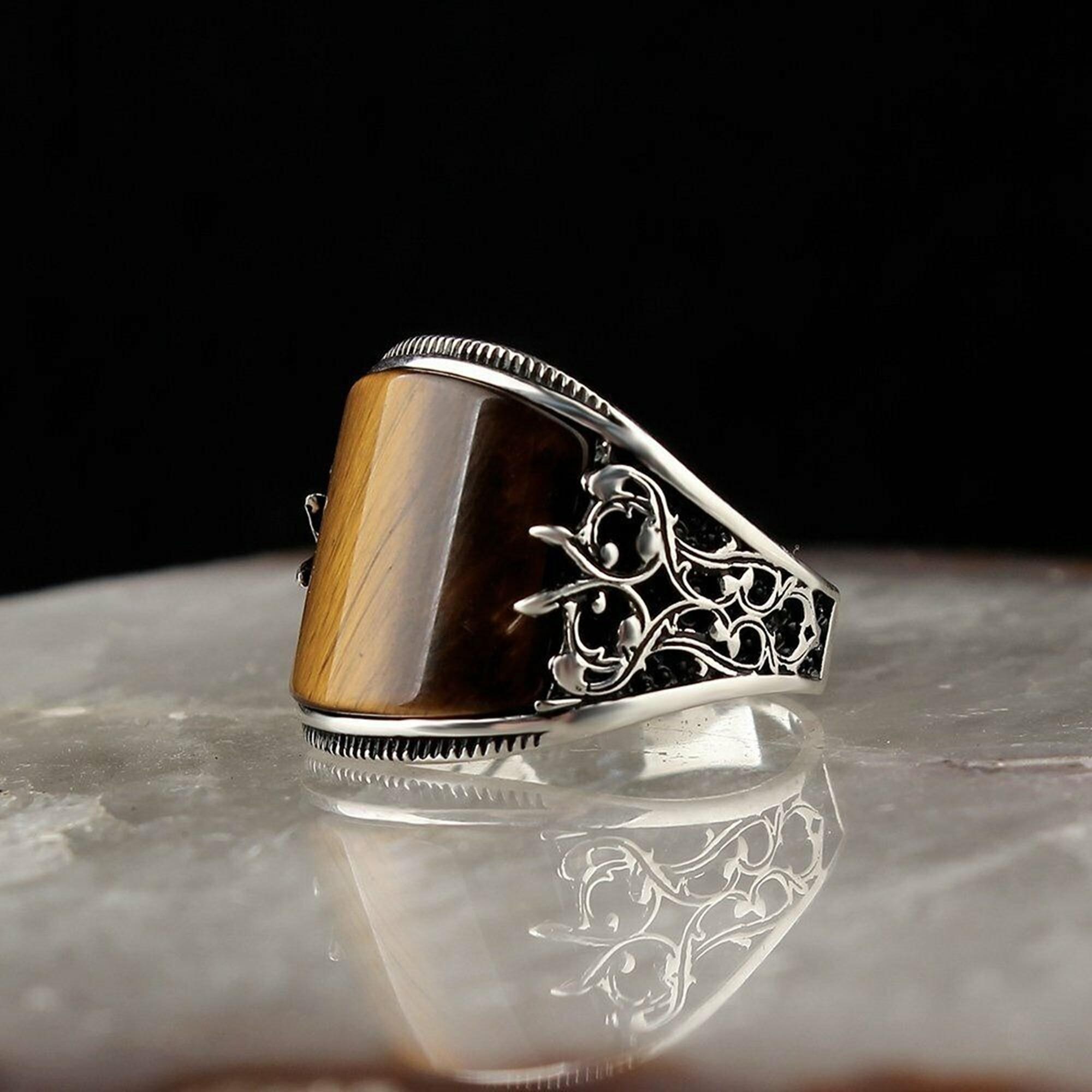 خاتم رجالي 925 فضة تركي صناعة يدوية مجوهرات عين النمر حجر كل حجم