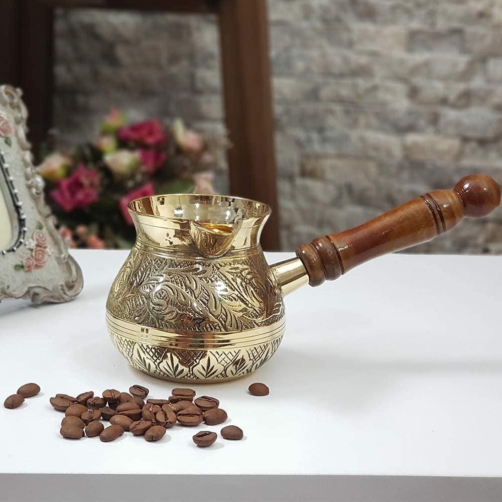 Cezve-طقم من 3 أواني قهوة تركية ، يونانية ، مغربية ، غلاية لتقديم إسبرسو على الموقد ، بمقبض خشبي ، نحاس مطروق