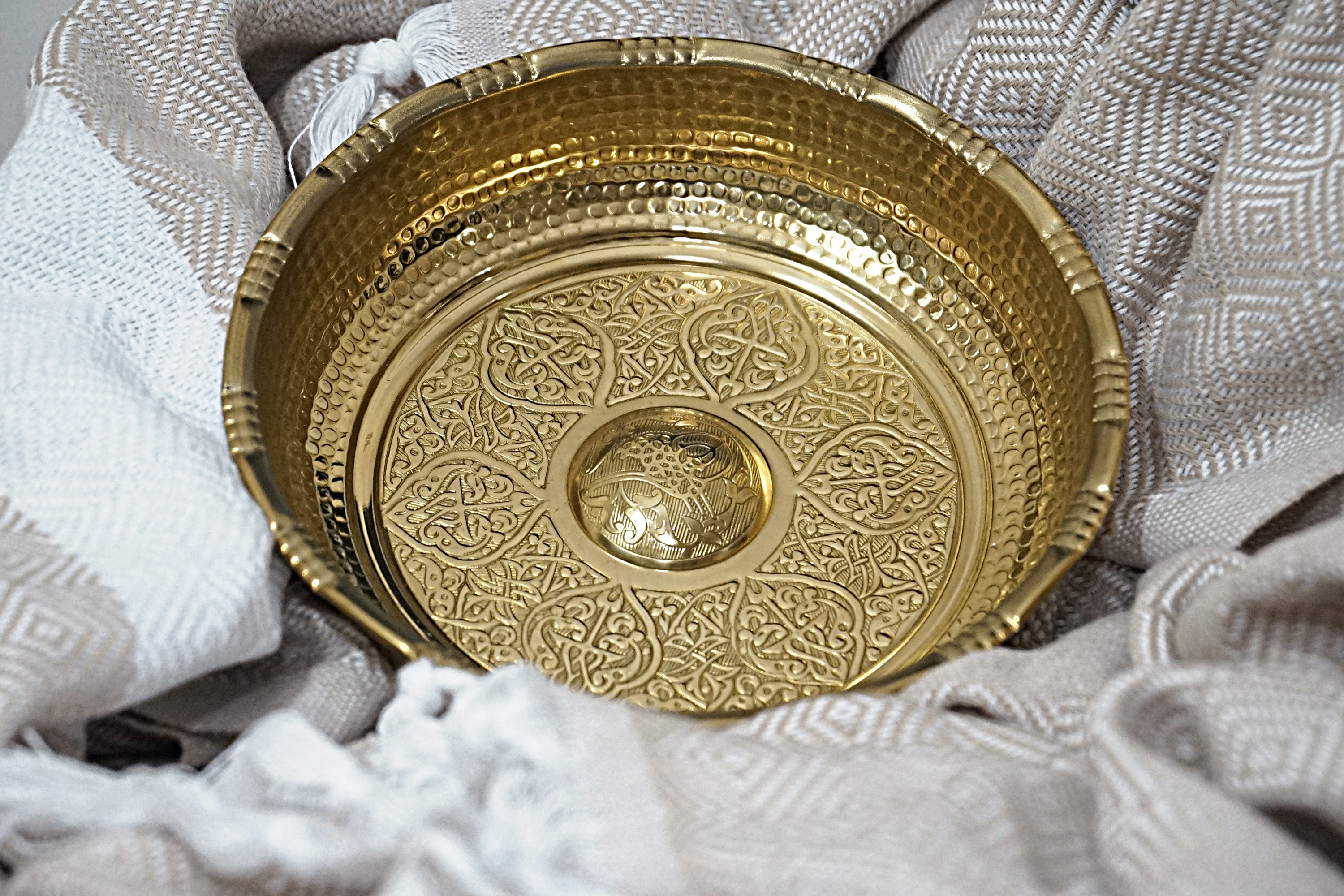 By Alforhamam Turkish Hammam and Bath Bowls Made of Brass, Hand Hammered Patterned Brass Hammam Bowl Use Decorative Accessory