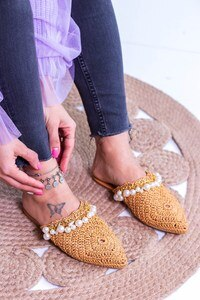Knit Belt Pearl Detail Women Slippers Hand Mash Pearl Slippers Shoes Woman 2021 Lace Cover Toe Low Slippers Flat Loafers Luxury