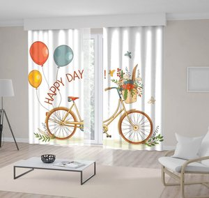 """Curtain Yellow Bike Red Blue Balloons Branches Green Leaves and Basket Filled with Colorful Flowers """"Happy Day"""" Postcard art"""
