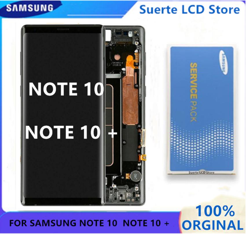 لسامسونج غالاكسي نوت 10 Lcd N970F N9700 مع الإطار عرض شاشة تعمل باللمس محول الأرقام لسامسونج نوت 10 + نوت 10 زائد 5 جرام N975