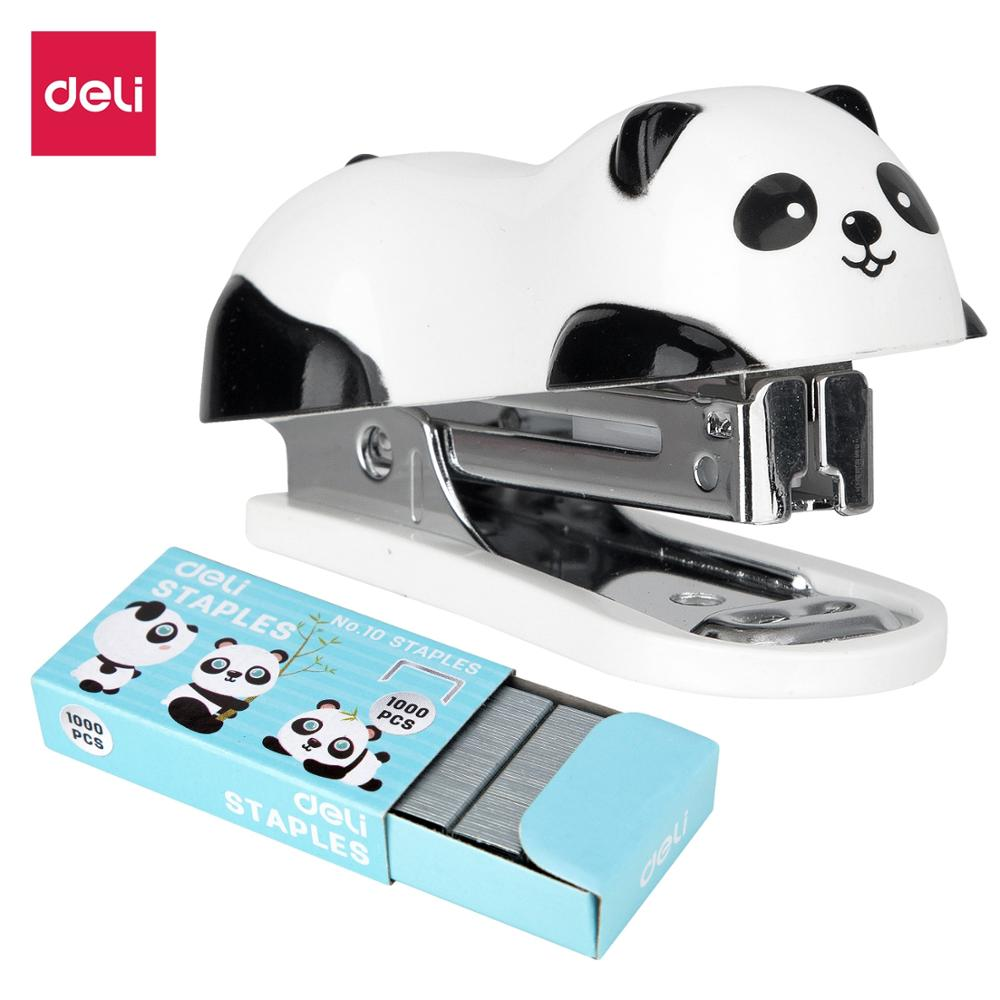 DELI Cartoon Mini Stapler set stapling machine with 1000 pcs No.10 staples Office school binding supplies Manual Cute Staplers