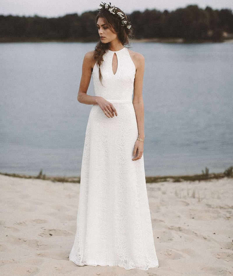 Get Halter Lace Boho Wedding Photoshoot Dress Beach A Line Backless Plus Size Custom Made Bridesmaid Bridal Gowns 2021 New 10077#
