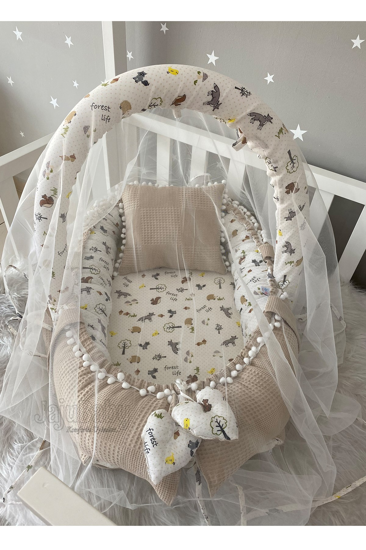 Jaju Baby Special Handmade Waffle Piqué Fabric Muslin Fabric Pompon Babynest Toy Apparatus and Tulle Set
