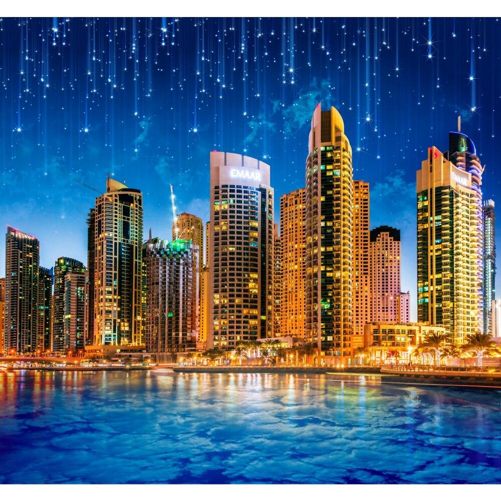 Фотообои на стену ночной город под звездным небом, обои на заказ, фотообои, декор стен, для гостиной, кухни, спальни