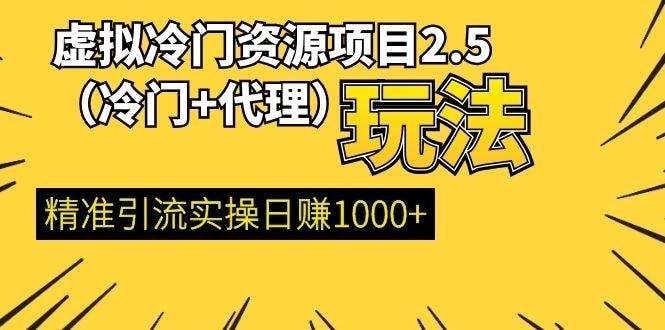 虚拟冷门资源项目2.5(冷门&代理玩法) 精准引流实操日赚1000+(更新中)