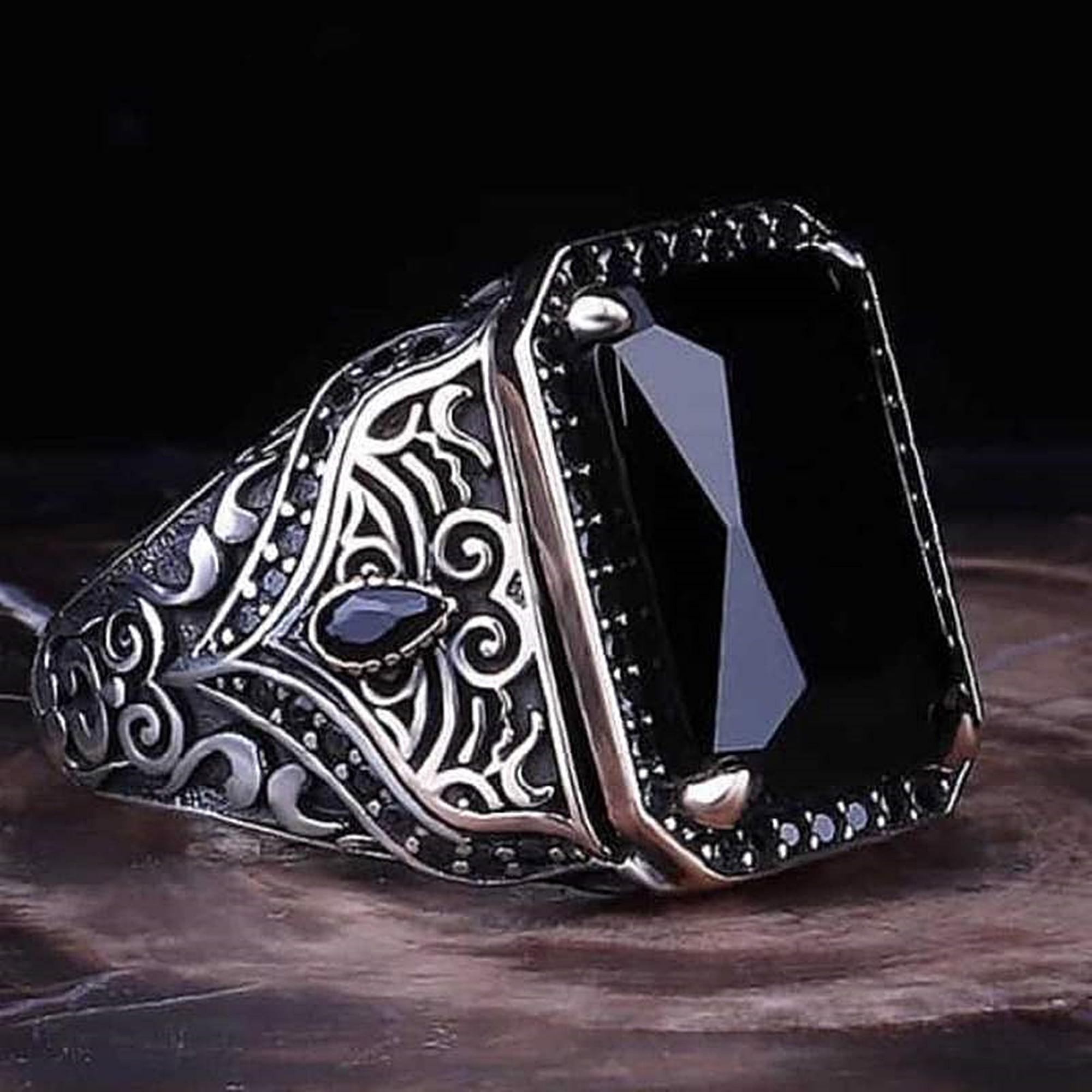 خاتم رجالي أسود من الفضة الإسترليني عيار 925 مجوهرات تركية مصنوعة يدويًا بمقاس موحد