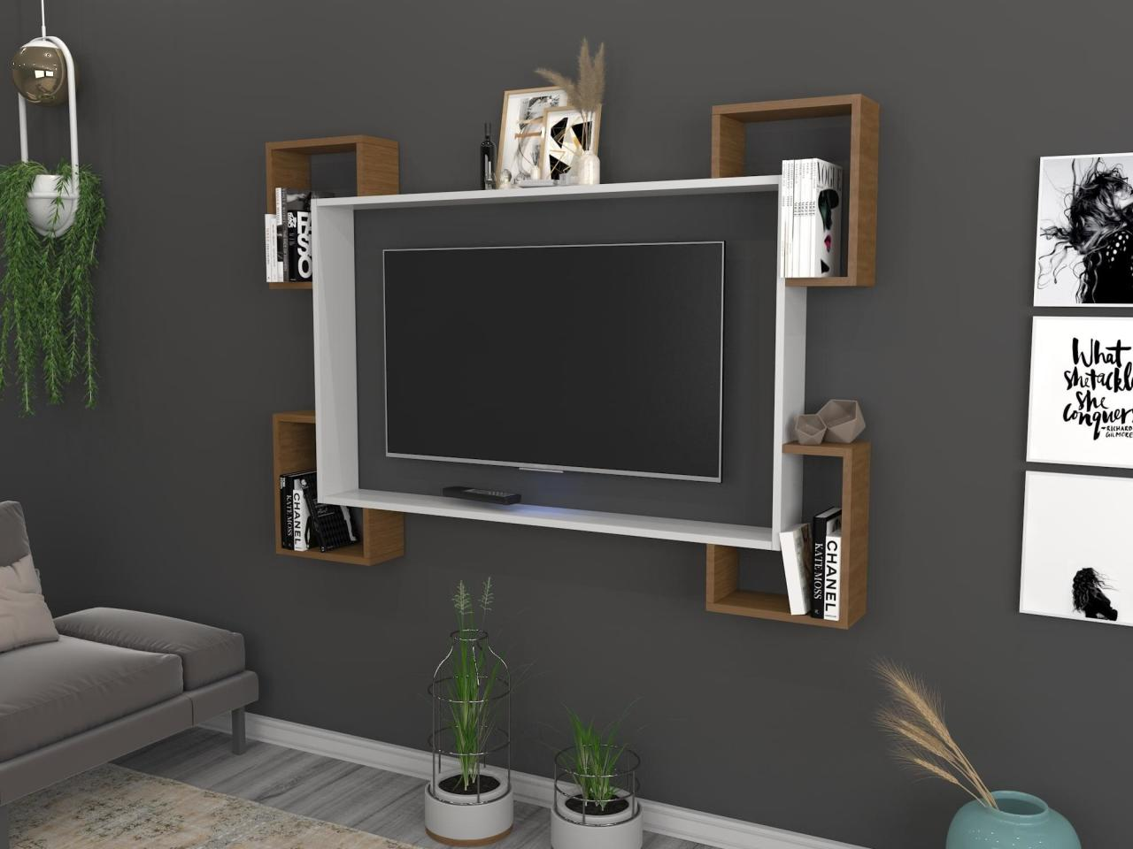 Home Furniture Tv Furniture TV Table TV Cabinet Wall TV Unit Trendsetter Bookcase Shelf Wall Tv Unit White Walnut