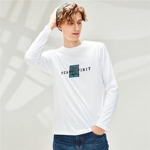 Giordano Men Tshirts Printed Cotton Crewneck Tee Shirts Long Sleeve Comfortable T Shirt Homme 91099986