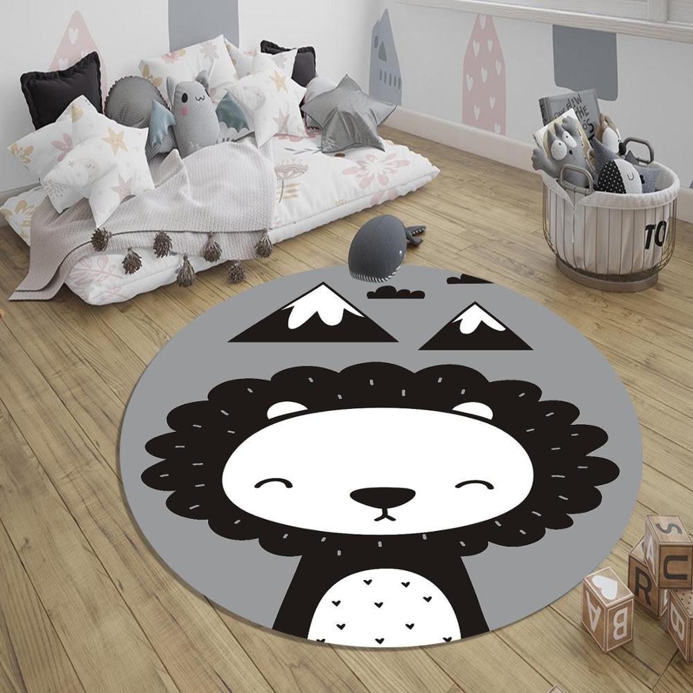 سجادة غرفة الأطفال والرضع ، أنماط ثلاثية الأبعاد غير قابلة للانزلاق ، أسد ، رمادي ، أبيض ، أسود