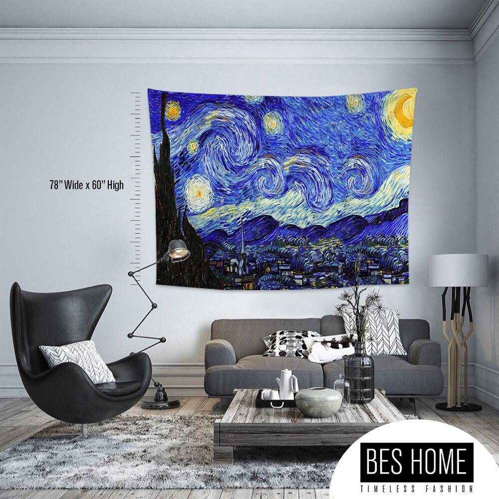 Винсент Ван Гог-Звездная ночь, тканевые настенные вешалки, гобелены, текстильные настенные вешалки, украшения стен, гобелены