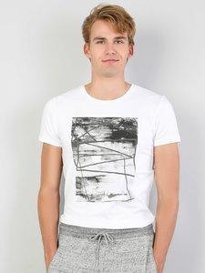 Colins Men Slim Fit White Short SleeveTshirtMen's Tshirt Fashion Man Tshirts ,CL1048493