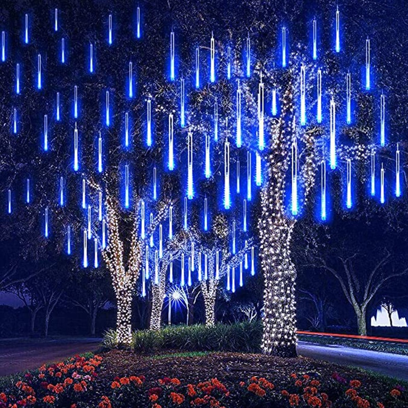 8 Tube Falling Rain Lights Meteor Shower Lights 30cm 50cm Drop Icicle String Light for Christmas Trees Decoration Holiday Lamp