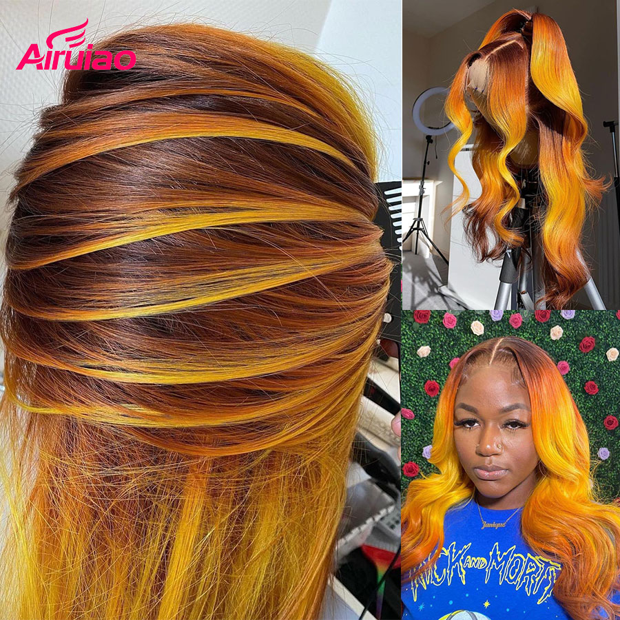 13x6 Ombre Orange HD Lace Frontal Human Hair Wigs Body Wave Lace Front Remy Wig Wavy Highlight Ginger Full Color Woman Curl Hair