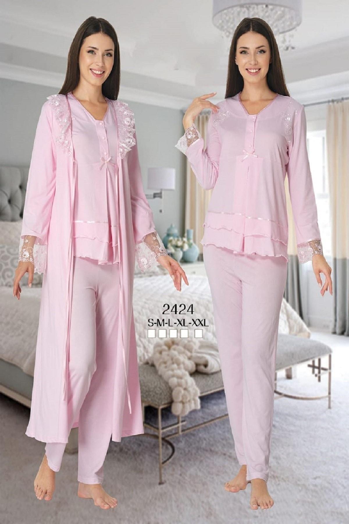 Effort Pajamas Women Ecru Long Sleeve Maternity Pajamas Set Dressing Gown enlarge